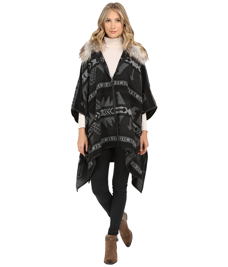 ONLY - Kiva Faux Fur Poncho (Dark Grey Melange) Women's Coat