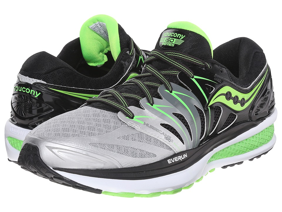 Saucony - Hurricane ISO 2 (Black/Silver/Slime) Men's Shoes