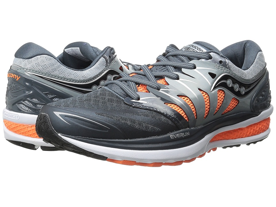 Saucony - Hurricane ISO 2 (Grey/Charcoal/Orange) Men's Shoes