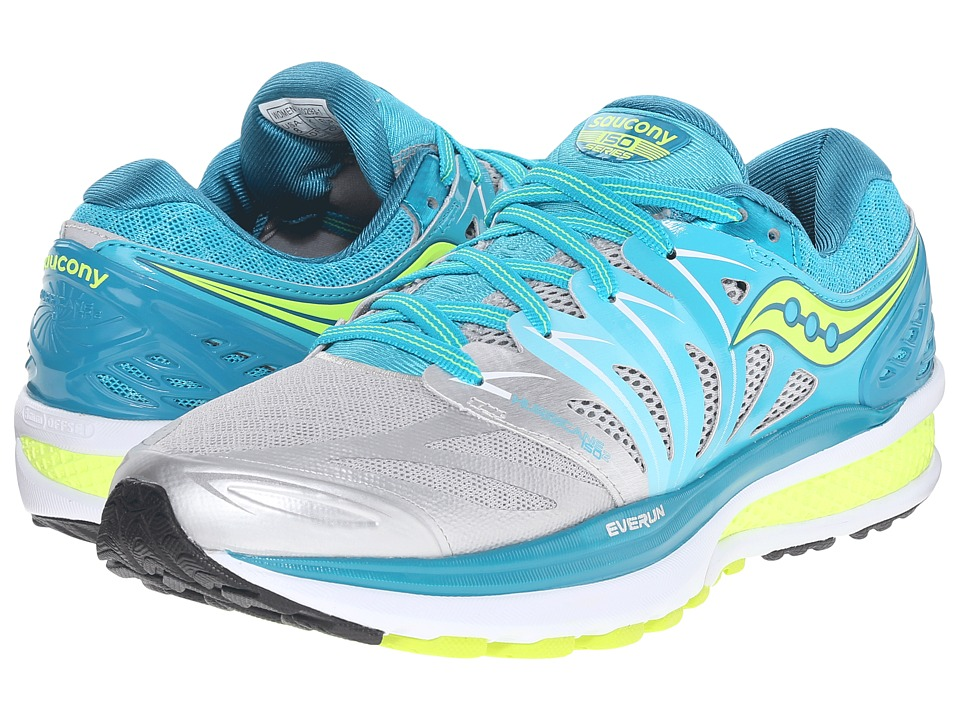 Saucony - Hurricane ISO 2 (Blue/Silver/Citron) Women's Shoes