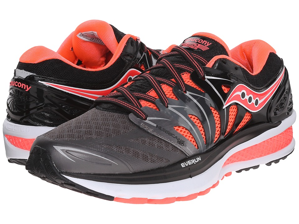 Saucony - Hurricane ISO 2 (Black/Charcoal/Coral) Women's Shoes