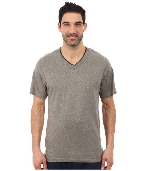Tommy Bahama - Heather Cotton Modal Jersey Knit V-Neck Tee (Everest Heather) Men