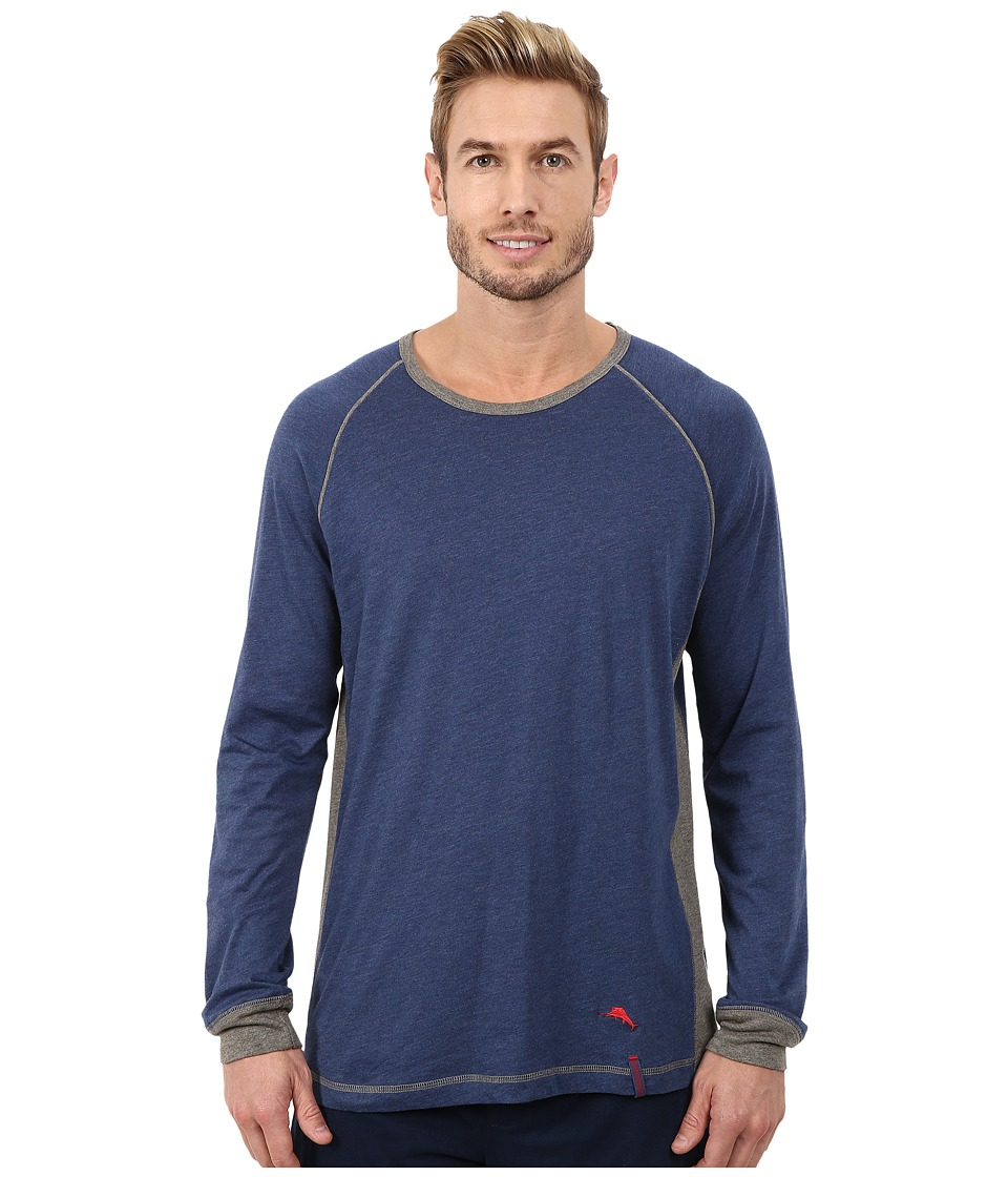 Tommy Bahama - Heather Cotton Modal Jersey Knit Long Sleeve Crew Neck Shirt (Indigo Heather) Men