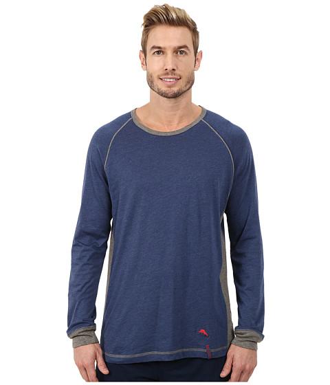 Tommy Bahama - Heather Cotton Modal Jersey Knit Long Sleeve Crew Neck Shirt (Indigo Heather) Men