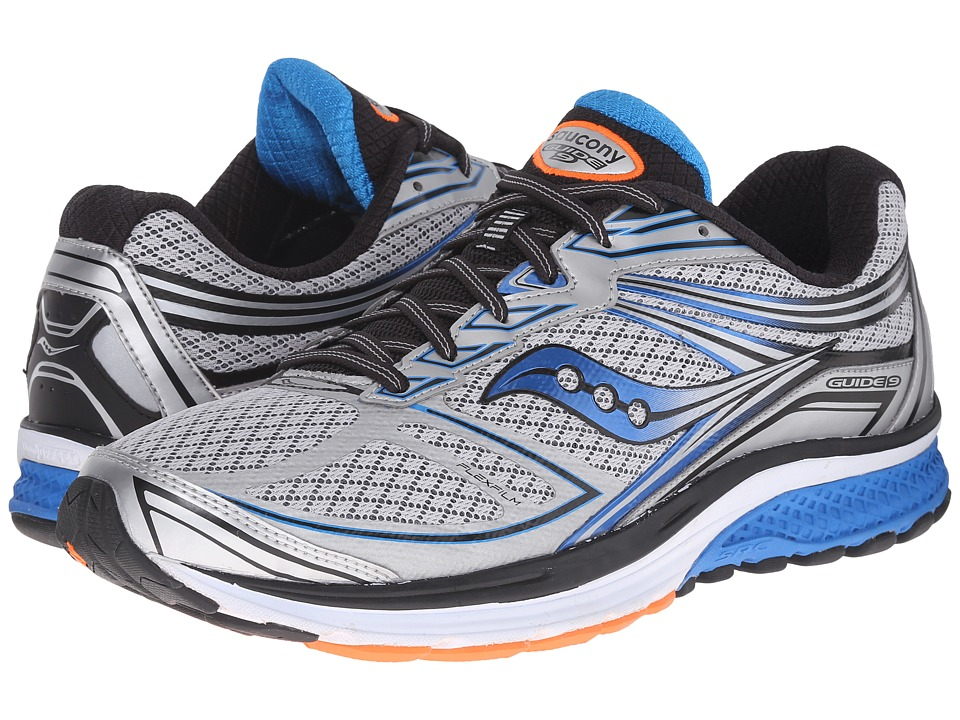 Saucony - Guide 9 (Silver/Blue/Orange) Men's Shoes