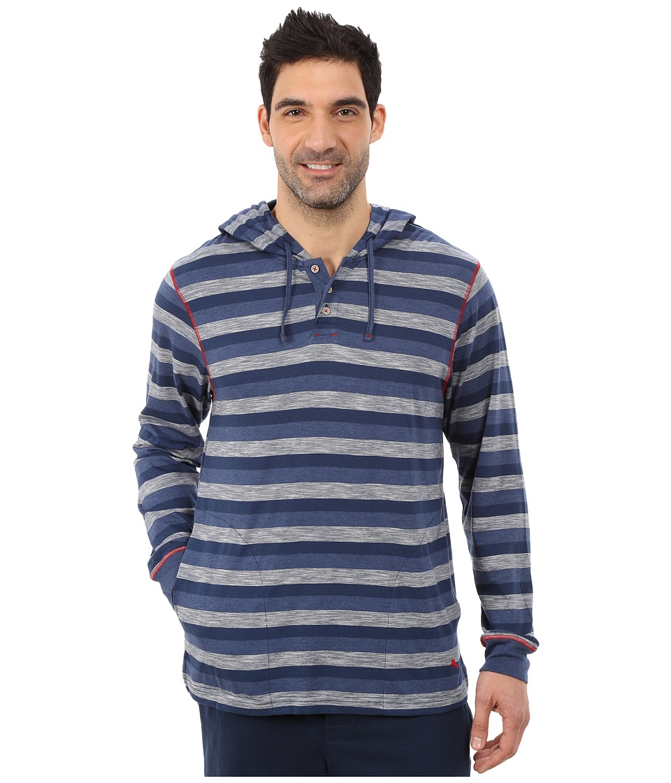 Tommy Bahama - Heather Cotton Modal Feeder Stripe Knit Long Sleeve Hoodie (Indigo Heather) Men's Long Sleeve Pullover