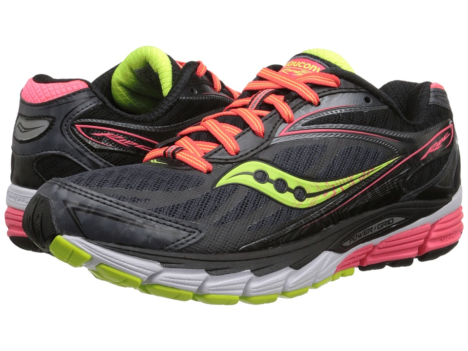 Saucony - Ride 8 (Midnight/Coral/Citron) Women's Running Shoes