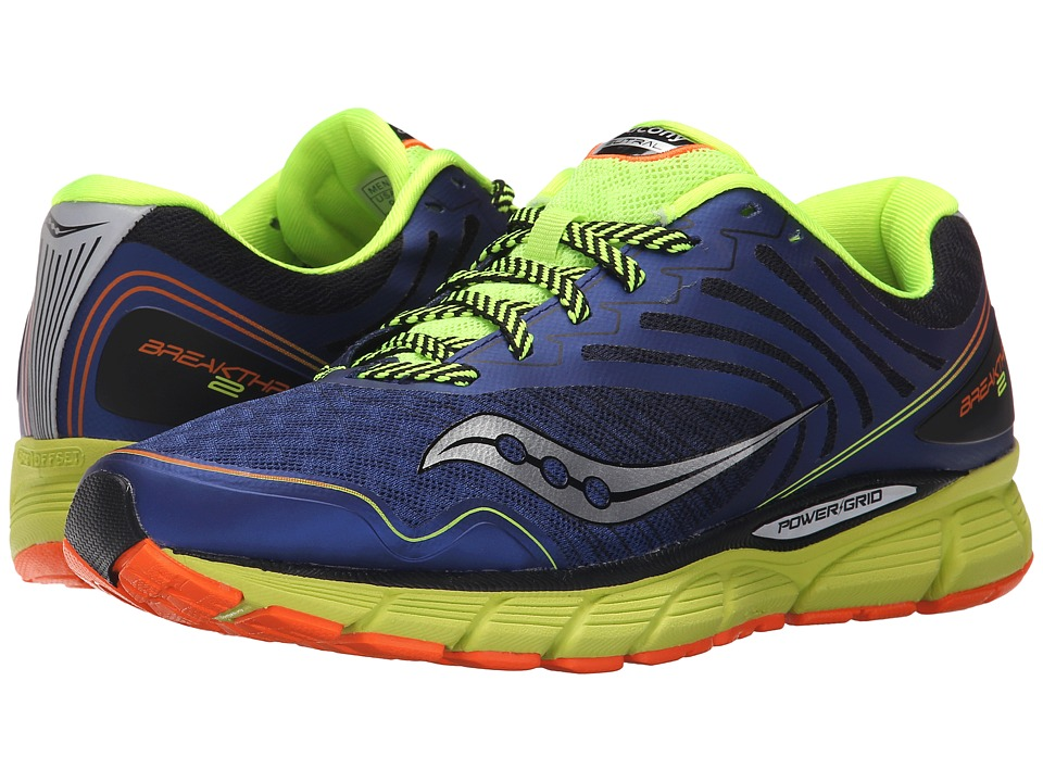 Saucony - Breakthru 2 (Blue/Citron/Orange) Men's Shoes