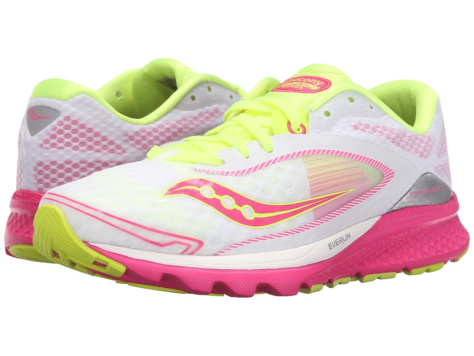 Saucony - Kinvara 7 (White/Pink/Citron) Women's Shoes