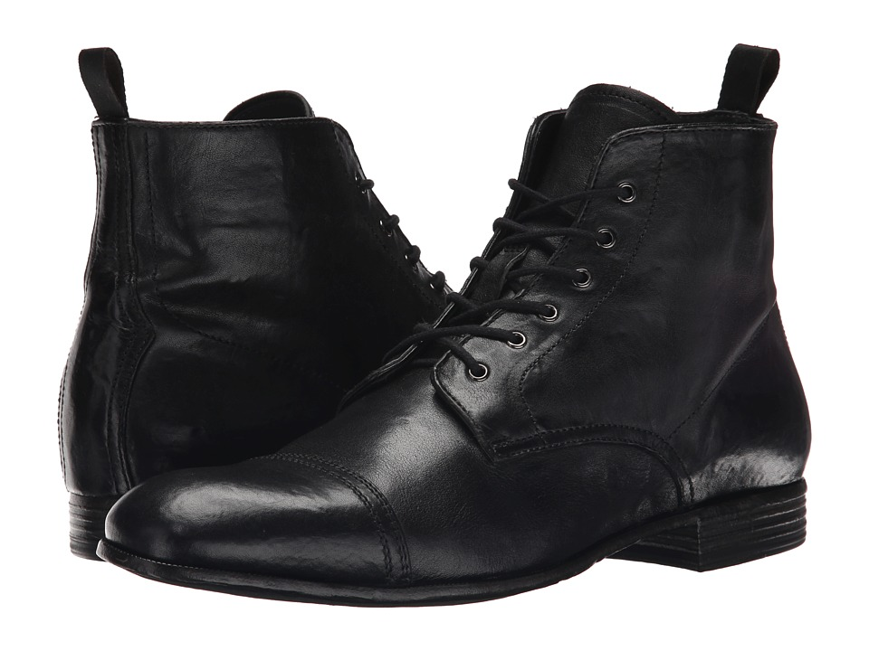 Alexander McQueen - Washed Lace Up Boot (Black) Men's Lace-up Boots