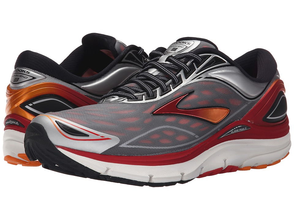 Brooks - Transcend 3 (Silver/Orange Popsicle/High Risk Red) Men's Running Shoes