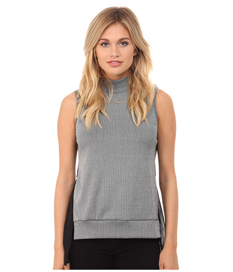 French Connection - Fast Rachel Rib Top 76DXG (Grey/Black) Women's Sweater