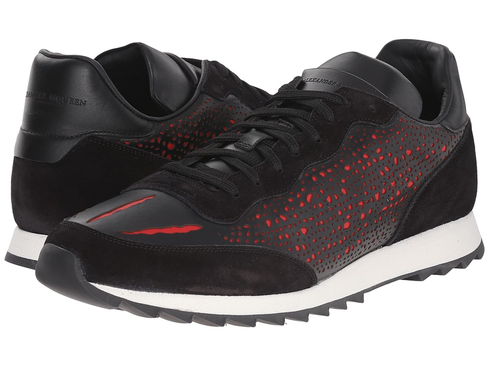 Alexander McQueen - Laser Cut Runner (Black) Men's Shoes