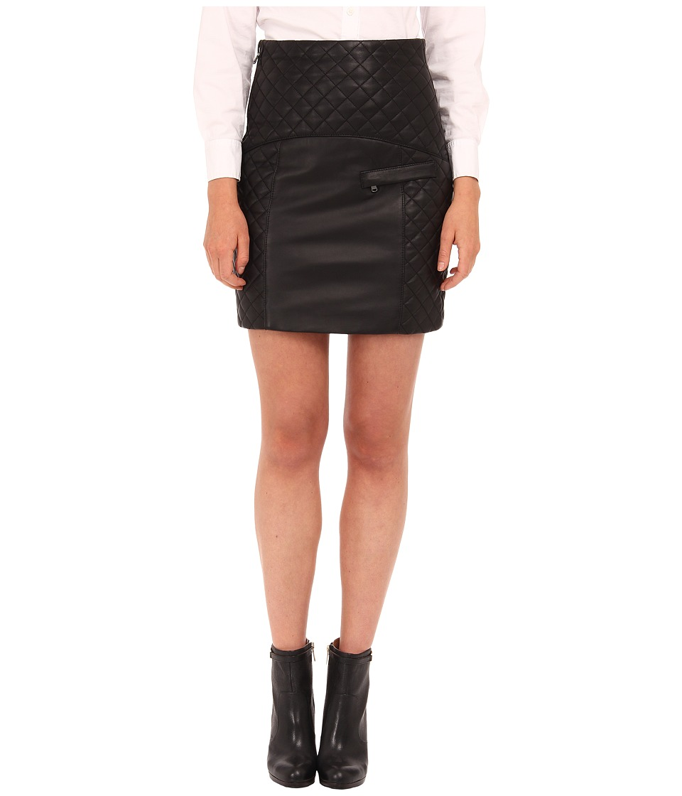 Pierre Balmain - Quilted Leather Skirt FP4302L (Black) Women's Skirt