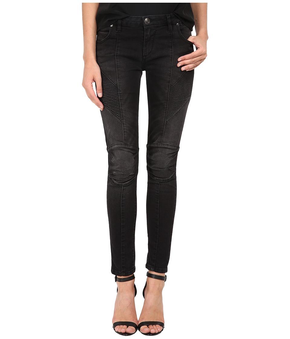 Pierre Balmain - Ribbed-Side Jeans in Black FP5358JO35B (Black) Women's Jeans
