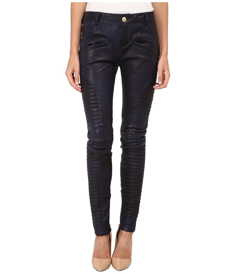 Pierre Balmain - Leather Pants FP5305L (Black/Blue) Women's Casual Pants
