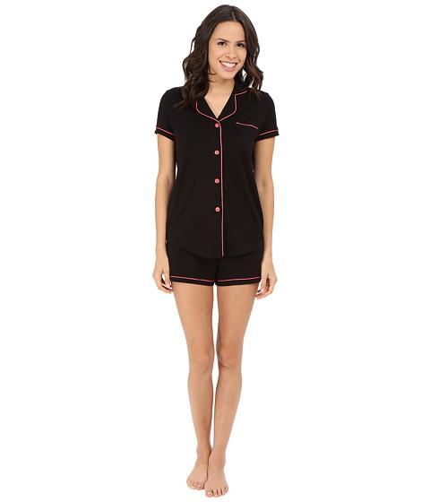 Cosabella - Amore S/S Boxer Set (Black/Geranium Pink) Women's Pajama Sets