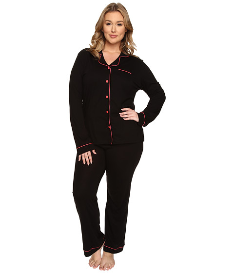 Cosabella - Plus Size Bella PJ Long Sleeve Top and Pants PJ Set (Black/Geranium Pink) Women