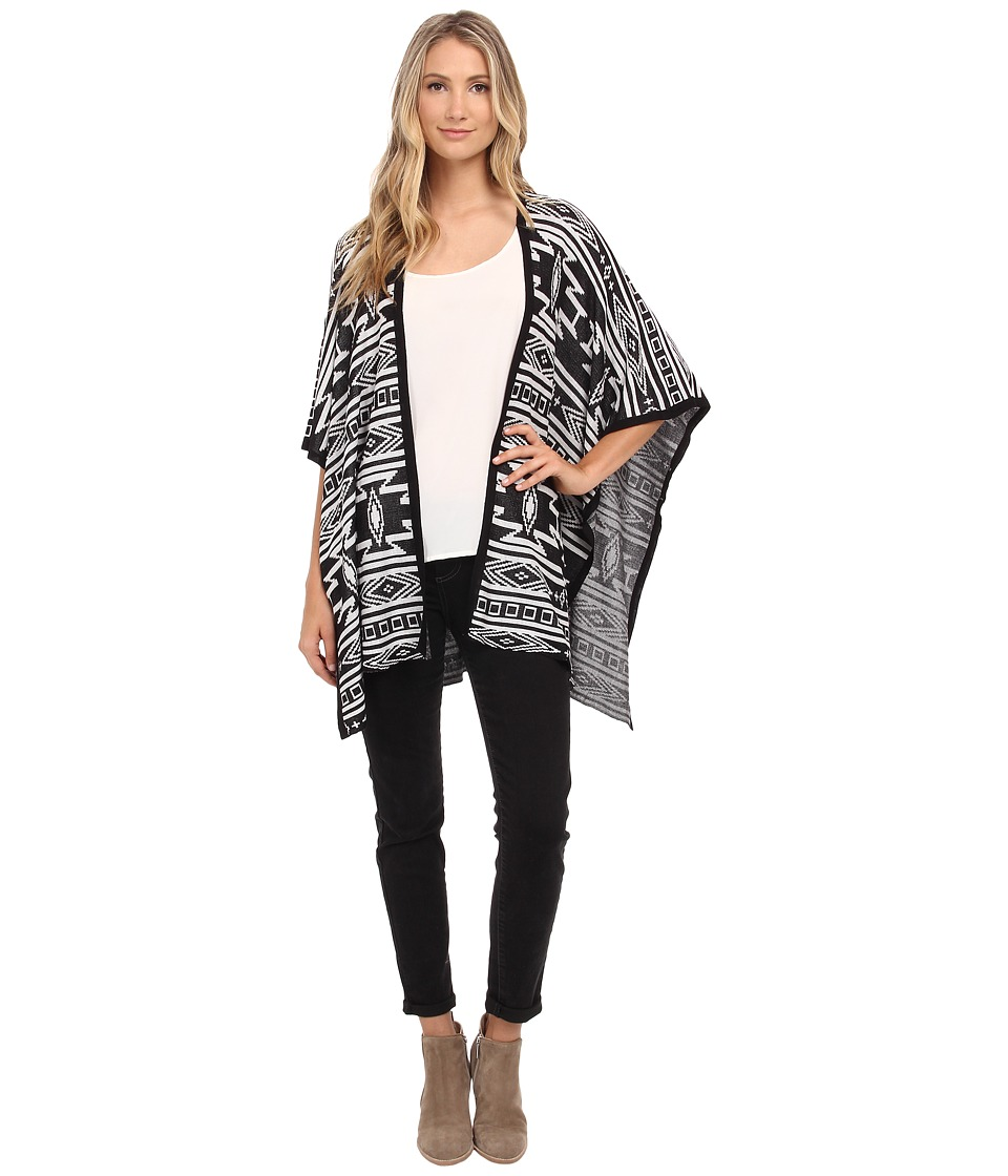 ONLY - Justina Knit Poncho (Black) Women's Short Sleeve Knit