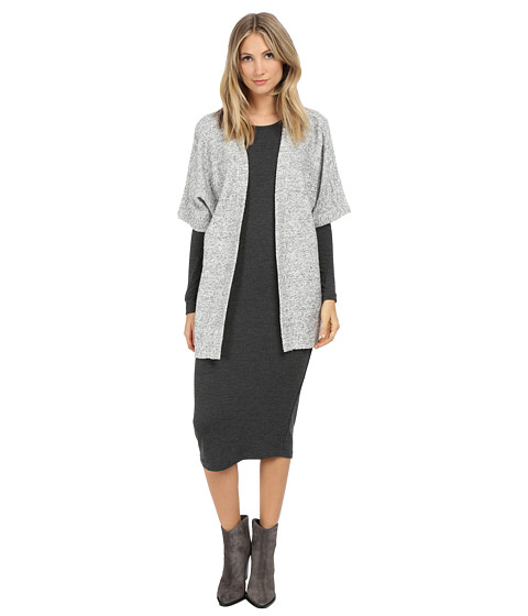 ONLY - Boucle 3/4 Sleeve Cardigan (Light Grey Melange) Women's Sweater