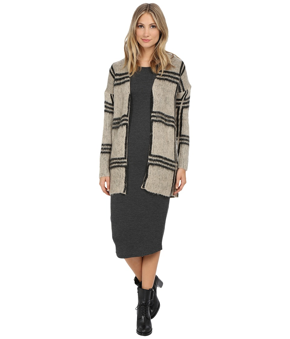 ONLY - Photo Long Sleeve Cardigan (Pumice Stone/Black) Women's Sweater