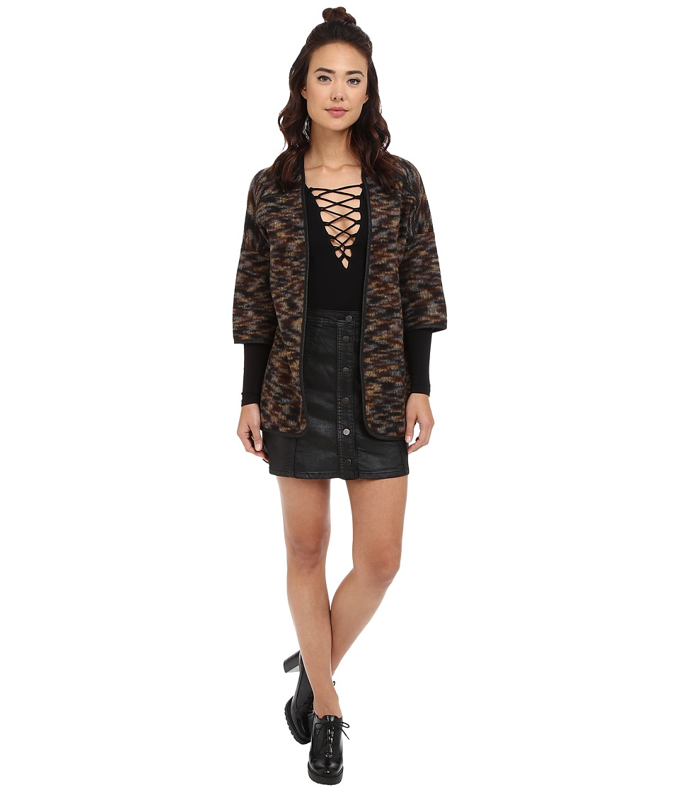 ONLY - Way 3/4 Sleeve Kimono Cardigan (Black/Partridge Mix) Women's Sweater