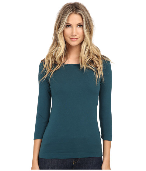 Three Dots - 3/4 Sleeve British Tee (Warm Teal) Women