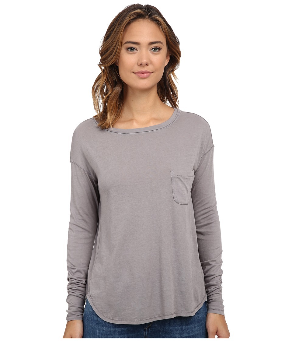 Three Dots - Long Sleeve Boat Neck Tee (Greystone) Women