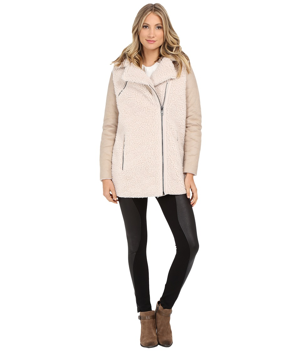 ONLY - Paige Sherpa Biker Coat (Oatmeal) Women's Coat