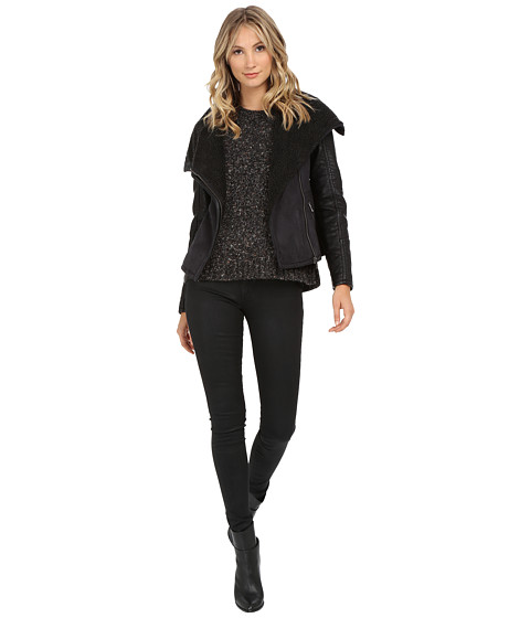 ONLY - Sector Bonded Mix Media Jacket (Phantom) Women's Coat