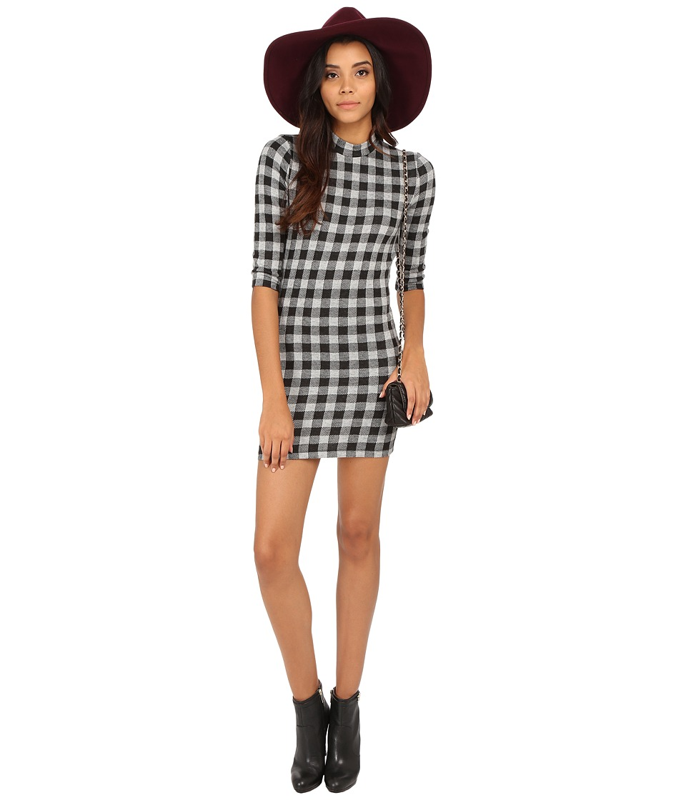 ONLY - Style 3/4 Sleeve Check Dress (Black/Grey Checks) Women's Dress