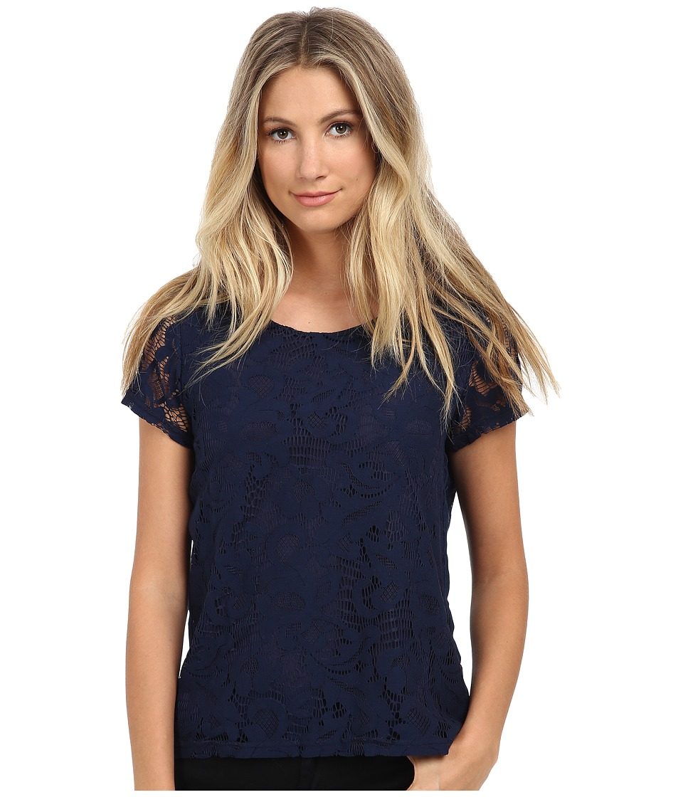 ONLY - Chris Short Sleeve Lace Top (Peacoat) Women's Short Sleeve Pullover