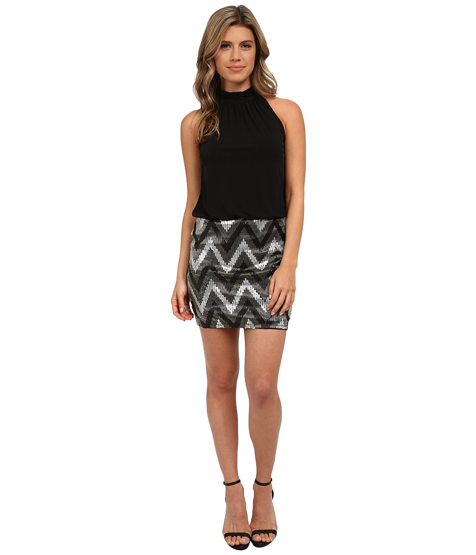 ONLY - Zigzag Sequins Sleeveless Dress (Black/Silver Sequins) Women's Dress