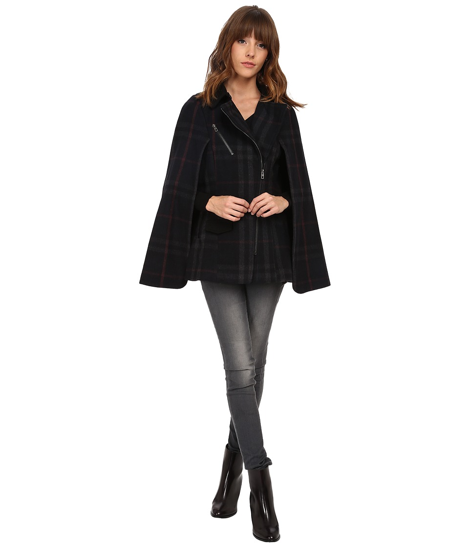 ONLY - Pinar Checked Wool Cape (Dark Navy) Women's Coat