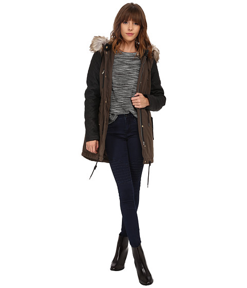ONLY - Demi Contrast Parka (Black Olive) Women's Coat