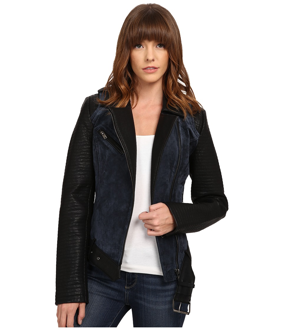 ONLY - New Brooklyn Suede Mix Biker Jacket (Peacoat) Women's Coat