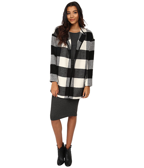 ONLY - Tessa Wool Coat (Black/Grey Checks) Women's Coat
