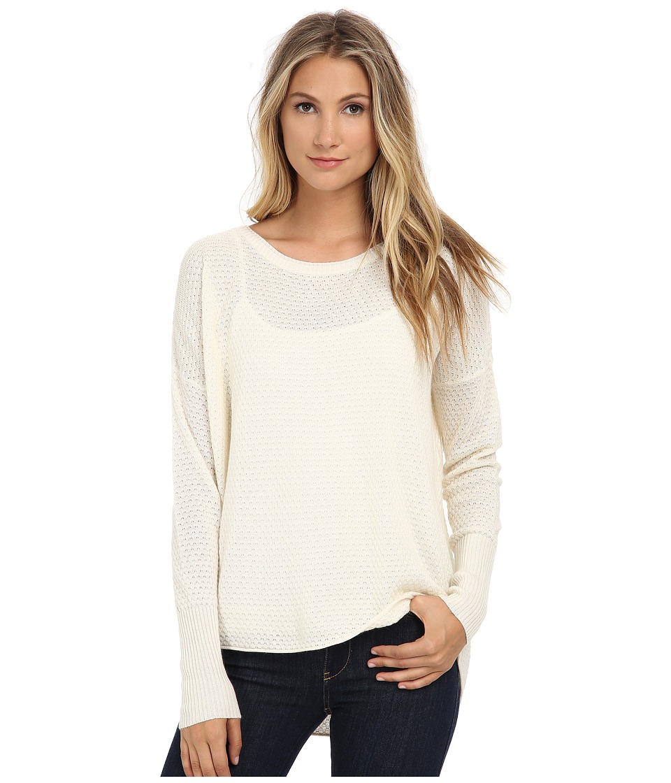 Three Dots - Long Sleeve High-Low Drop Shoulder (Gardenia) Women's Clothing
