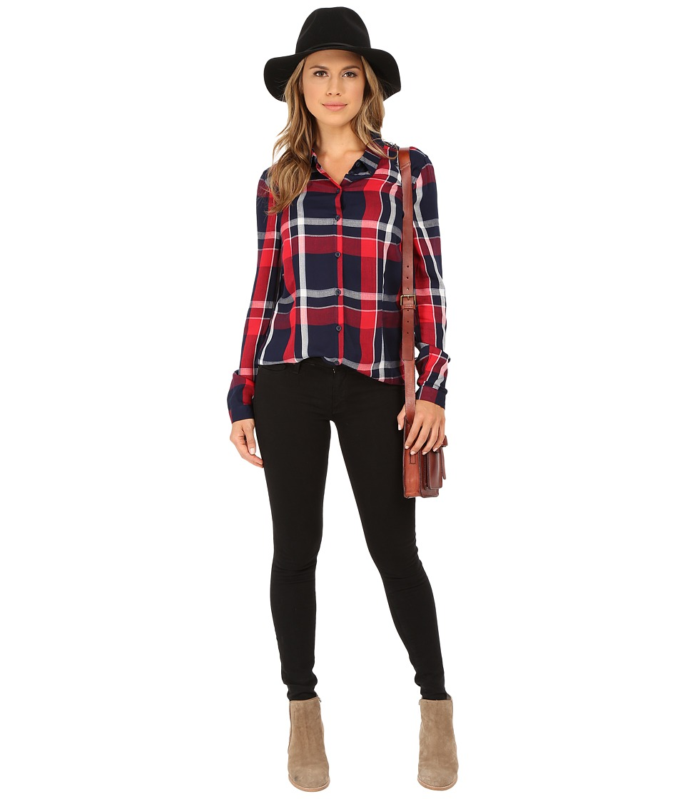 ONLY - Calypso Plaid Fitted Shirt with Lace Back (Night Sky/Red Checks) Women's Long Sleeve Button Up