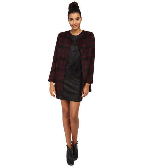 ONLY - Dorothy Checked Wool Coat (Windsor Wine) Women's Coat