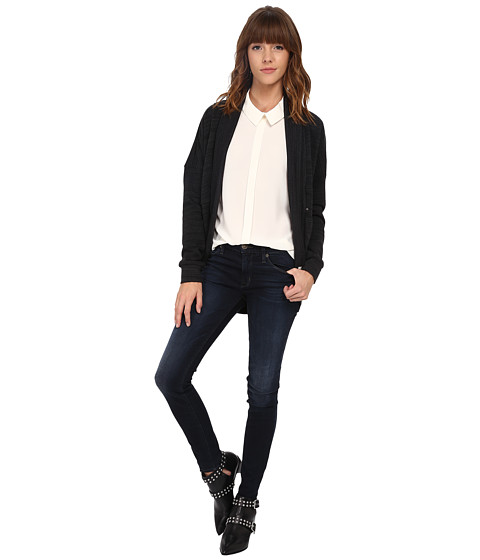 ONLY - Cash Long Sleeve Sweatshirt Cardigan (Black) Women's Sweater