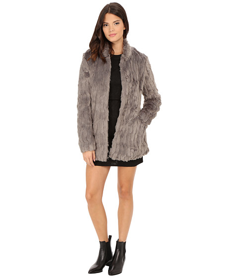 ONLY - Ruth Faux Fur Coat (Silver) Women's Coat