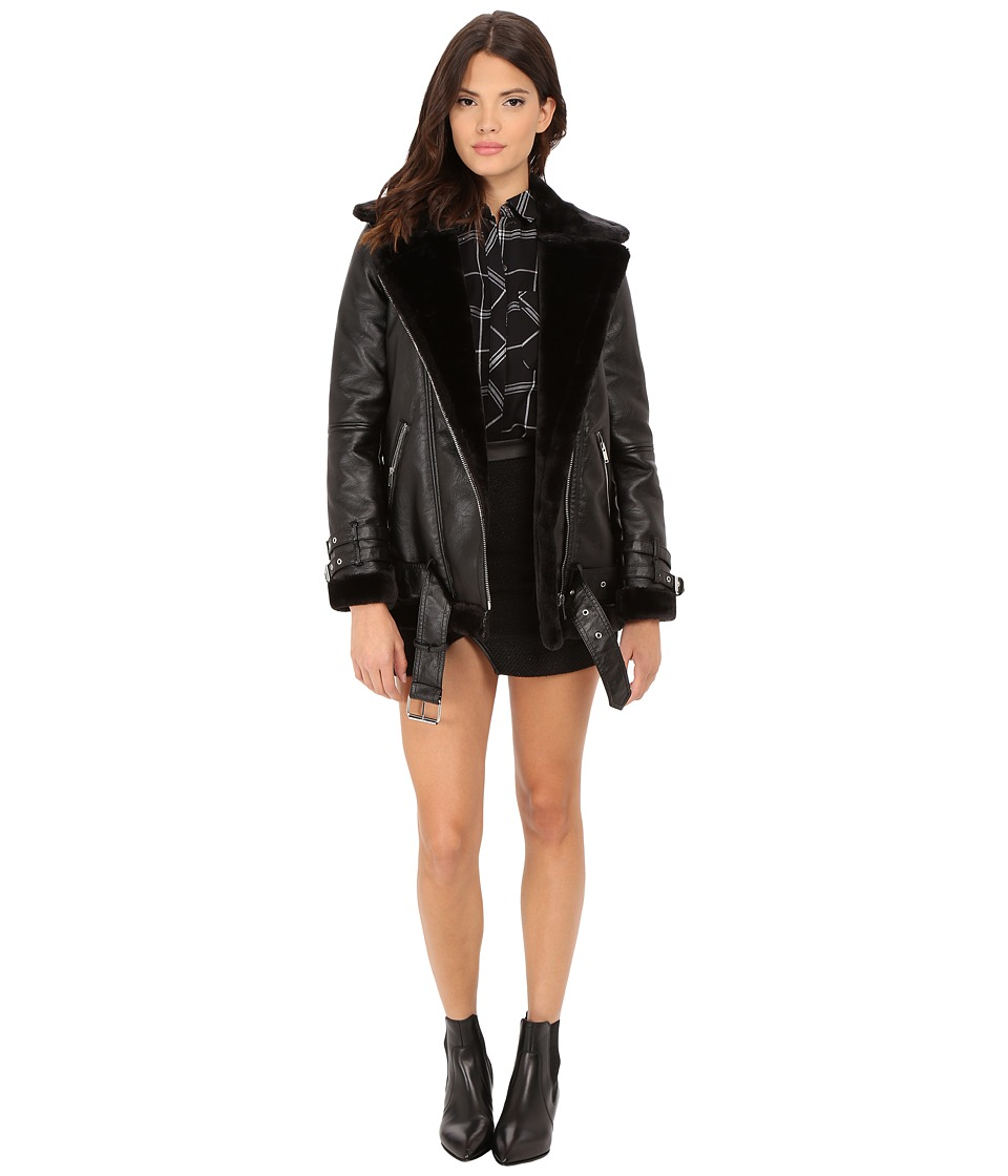 ONLY - Gaia Bonded Biker Coat with Faux Fur Lining (Black) Women's Coat