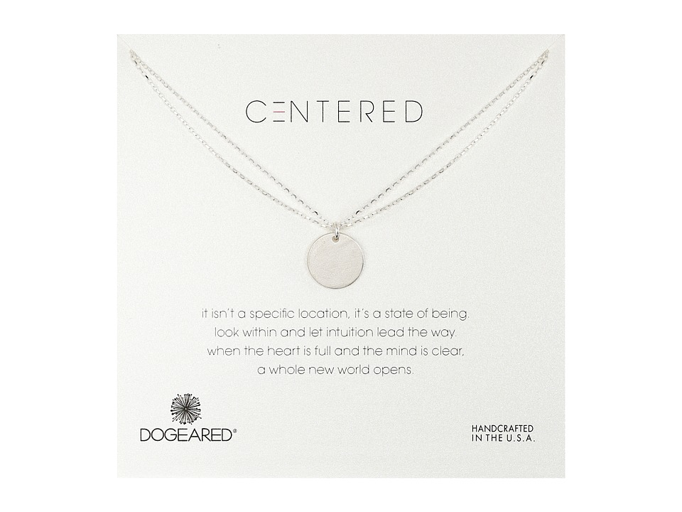 Dogeared - Centered Large Circle Charm On Double Chain Necklace (Sterling Silver) Necklace