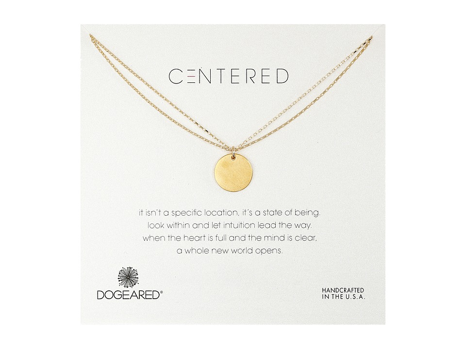 Dogeared - Centered Large Circle Charm On Double Chain Necklace (Gold Dipped) Necklace