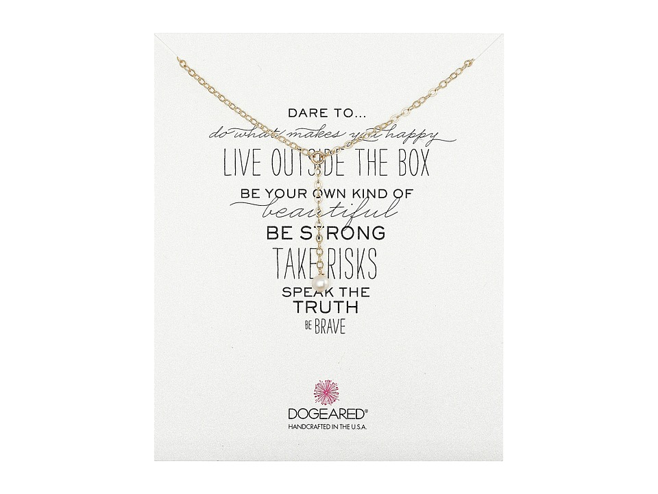 Dogeared - Dare To Little Y Necklace Pearl (Gold Dipped) Necklace