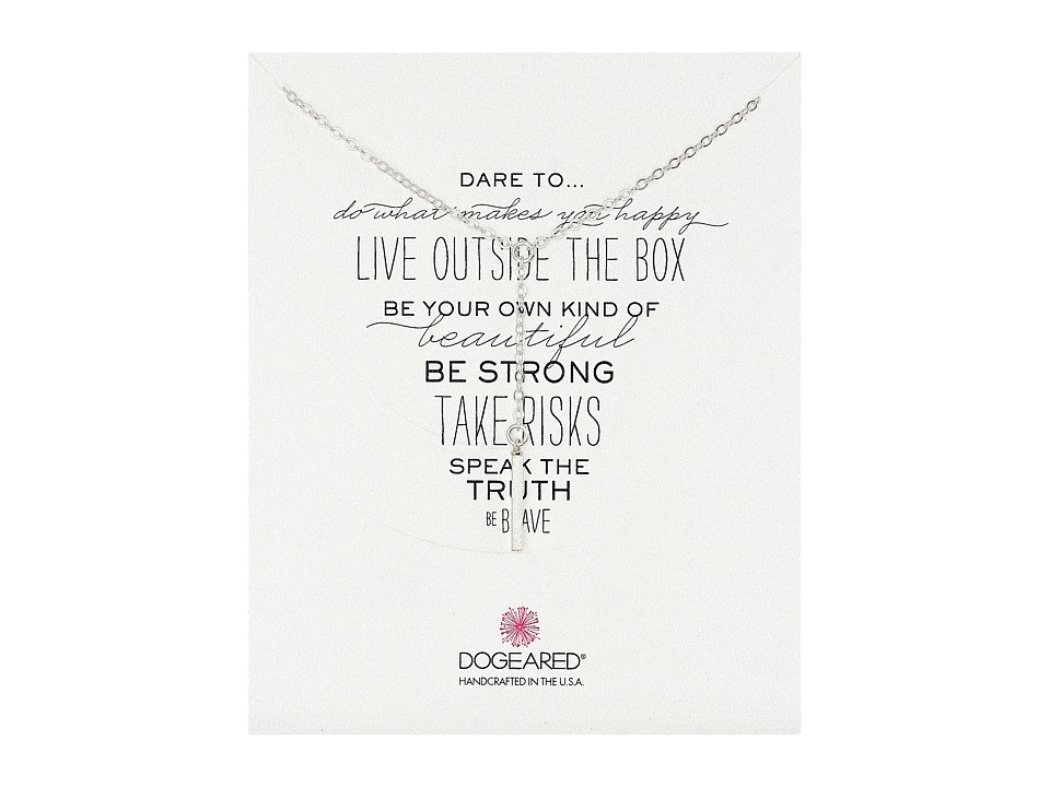 Dogeared - Dare To Little Y Necklace Square Bar (Sterling Silver) Necklace