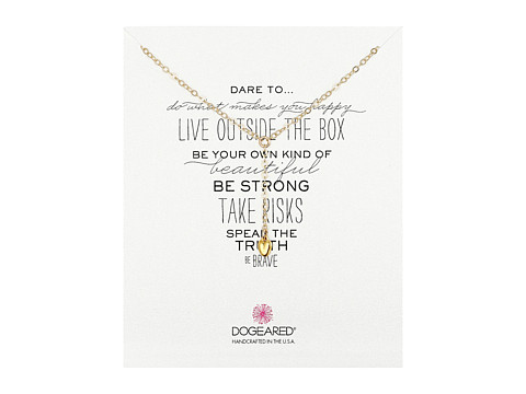Dogeared - Dare To Little Y Necklace Baby Heart (Gold Dipped) Necklace