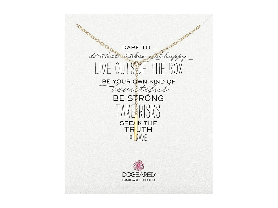 Dogeared - Dare To Little Y Necklace Square Bar (Gold Dipped) Necklace