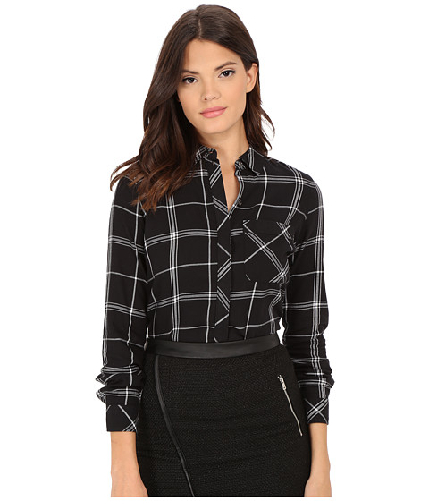 ONLY - Camelia Long Sleeve Plaid Woven Shirt (Black/Cloud Dancer) Women's Long Sleeve Button Up
